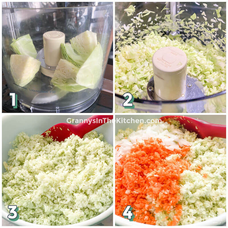 step by step collage showing how to make coleslaw in food processor