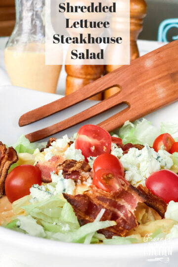 steakhouse style shredded lettuce salad with French dressing