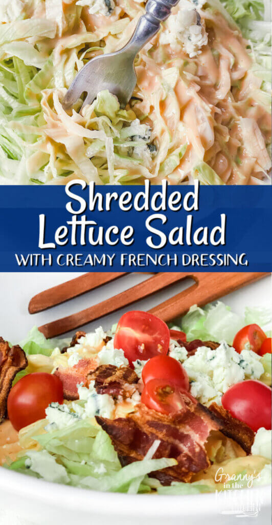 shredded iceberg lettuce salad with French dressing